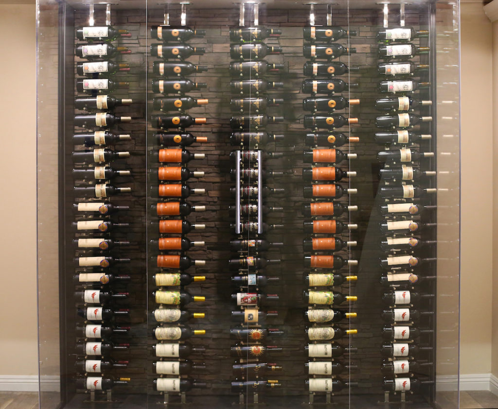 Floor to Ceiling Wall Mounted Wine Rack Modern Glass Wine Cellar Ultra Wine Racks & Cellars
